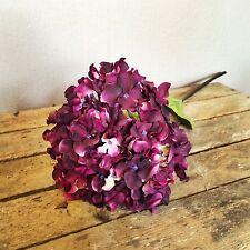 Plum Faux Silk Hydrangea, Individual Realistic Damson Purple Artificial Flower
