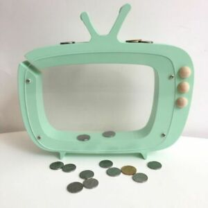 TV Shape Clear Wood COIN Box Piggy Bank For Saving Cash and Room Decor New