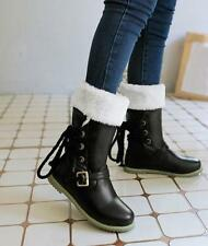 New Women Sweet Synthetic Lace Up Mid-Calf Snow Flat Winter Warm Boots Plus Size