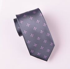 Pink Italian Fleur-De-Lis Gray Tie 8cm Grey Necktie Mens Luxury Florentine Style