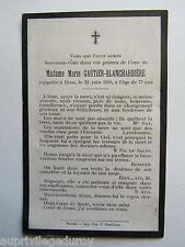IMAGE d' AVIS MORTUAIRE : Mme Marie GAUTIER-BLANCHARDIERE, 1910
