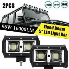 """Pair 5.2 """" 96W LED Work Light Bar Flood Beam OffRoad Driving Reverse 4x4 Ford"""