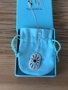 "Tiffany & Co Ziegfeld Black Onyx Sterling Silver Pearl Daisy Necklace 24"" Long"