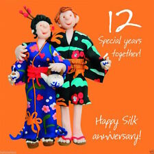 Holy Mackerel Anniversary Greeting Card 12 12th Years Silk