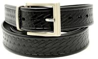 "Black Heavy Duty 1.25"" Basket Weave Work Dress Belt-Biothane Leather-Amish Made"