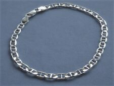 "9"" Italian Sterling Silver Ankle Bracelet- 5mm Marina Link -Italy 925- New"