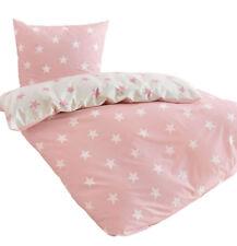 Bierbaum Baumwolle Wende Bettwäsche 135x200 Linon Sterne rosa weiß 4tlg 1B