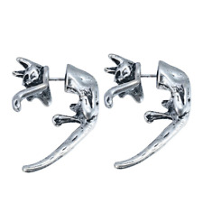 Pair of Front and Back Silver Cat Ear Stud. Emo Goth Earring Jewellery Halloween