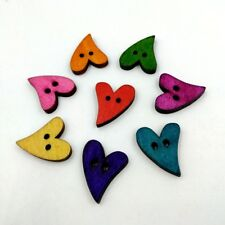 100pcs 20mm Heart Shape Colorful Wood Wooden Sewing Buttons Scrapbook Craft