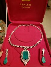 Princess RoyalJewelry Imperial Natural Neon Colombian Emerald Necklace/Earrings