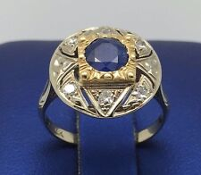 14K TWO TONE WHITE & YELLOW GOLD BEAUTIFUL VINTAGE SAPPHIRE RING WITH DIAMONDS