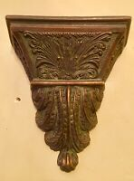 Vtg Heavy Hanging Wall Vase Dark Brown Pottery Leaf Ornate Possible made England