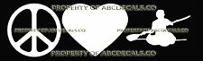 PEACE LOVE KAYAKING GUY Vinyl Wall Sticker Car Bumper Window Decal