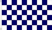 Navy Blue & White Chequered Flag - Large 5 x 3 FT - Checkered Motor Racing Sport
