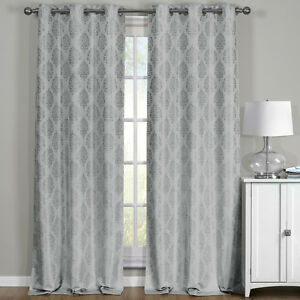 Paisley 100% Blackout Window Curtain Panels Full Light Heat Blocking Drapes Pair