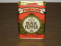 "VINTAGE KITCHEN 1880-1980   3 3/4"" HIGH FRENCH'S BLACK PEPPER TIN *EMPTY*"