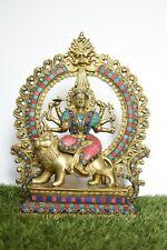 "14"" Goddess Durja Statue Handmade Inlay Art Home Office Decorative Brass Finish"