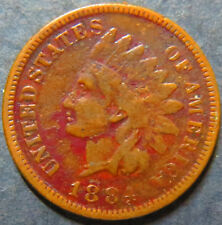 > 1884 INDIAN HEAD BRONZE CENT Circulated RED Details Philadelphia Mint Coin #3