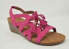 VIONIC Womens 7.5 Pink Fuchsia Park Kalie Suede Leather Wedge Sandals