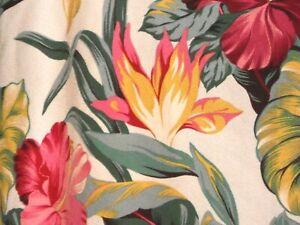 "PAIR 70""x 26"" Hawaiian Tropical Cotton Barkcloth Fabric Drapes ~Pau Hanna~"