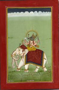 Handmade Religious Painting Of Lord Ganesha On Elephant Indian Art On Paper
