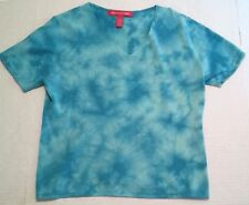 GLORIA VANDERBILT Women's Aqua Tye Dye V-Neck Short Sleeve Sweater Size L