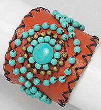 """7.5"""" Latin-Style Leather Turquoise/Painted Gold Beaded Cuff Bracelet"""