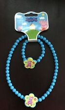 Peppa Pig Necklace and Bracelet Set - Blue Beads - Brand New
