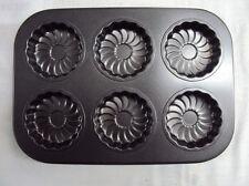 6 Mould Cup Non Stick Muffin Fairy Cake Pudding Baking Tray Tin Random design