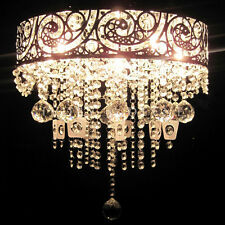 VINTAGE Hanging Pendant Chandelier Glass Crystals Grand Light Lamp Silver Chrome