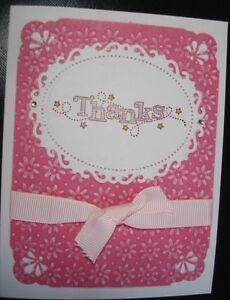 Handmade Thanks Thank You Card Made With Stampin Up Spellbinders Floral Ovals