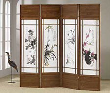Brand New 71'H 4-Panel Wooden Screen with Floral Paintings Room Divider - Asdi