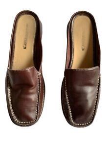 "Nine West Cloud 9 ""Mintao"" Brown Leather Slides Mules Slip-on Shoes Ladies Sz 9M"