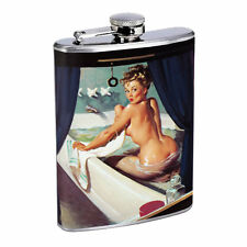 Flask 8oz Stainless Steel Classic Vintage Model Pin Up Girl D 153 Alcohol