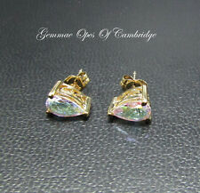 9K gold 9ct Gold Pear cut Angel Aura Quartz Earrings 1.53g 1.4 carats