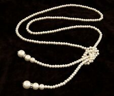 Imitation Pearl Necklace Jewelry Long Strand Knotted Beads Silver Accent Tassel