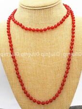 Fashion Women's Natural 8mm Red Jade Round Beads Necklace 36 Inch Long JN690