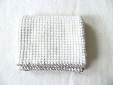 Pure Cashmere Crochet Wool Border Thermal Baby Blanket, Color White/Beige