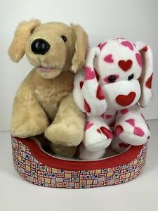 Build A Bear Bundle BAB Labrador Golden Retriever & Love Hearts Puppy & Dog Bed