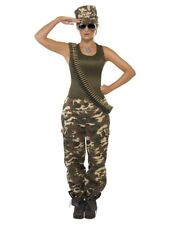 Women's Deluxe Army Soldier Private Benjamin Costume Camo Vest Top Trousers