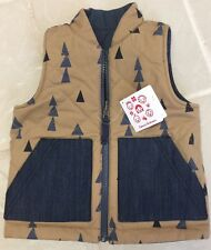 Hanna Andersson Quilted Reversible Navy Denim Trees & Tan Vest sz 100 (3-5 yr)