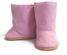 Pink Suede Boots Shoes with Fur Lining fits 18 inch American Girl Doll Clothes