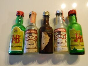 Vintage Miniature Liquor Bottles - Empty - Lot of 5 Smirnoff JB