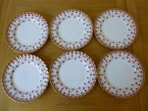 "6 Spode Fleur de Lys Red 8"" Salad/Dessert Plates - just reduced!"