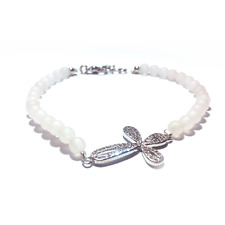 *NEW* Rose Quartz Handmade Bracelet with Cross Pendant