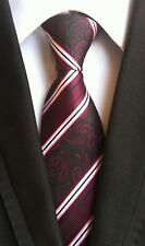 Mens New 100% Silk Striped Paisley JACQUARD WOVEN Wedding Tie Necktie