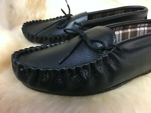 Mens genuine leather slipper moccasin slipper British made in Somerset