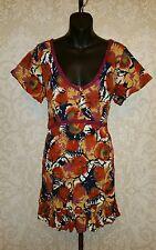 Joe Browns Floral Printed Crinkle Lace Trim Mini Dress  Sz 14 #1495