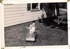 Boys Kids Brothers Sitting In Vintage Pedal Car Toy  1961 Photo