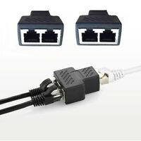 2PCS RJ45 1 to 2 Dual Female Port CAT5/6 LAN Ethernet Splitter Adapter